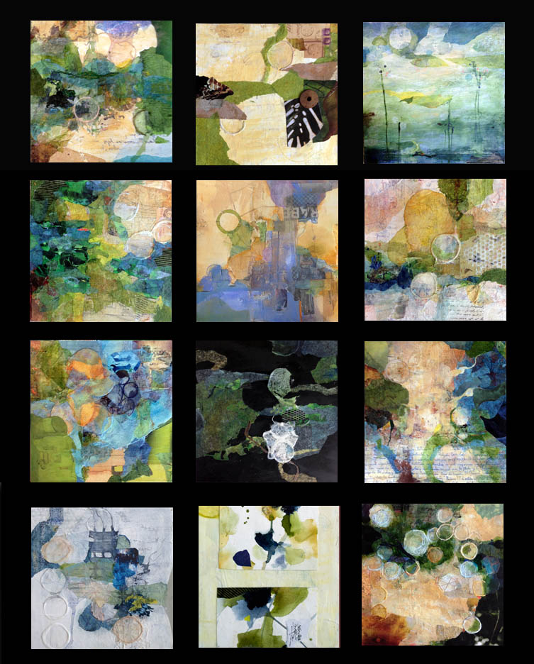 Thumbnails of Susan K. Miller watercolors and watermedia collages. Click images for larger views.